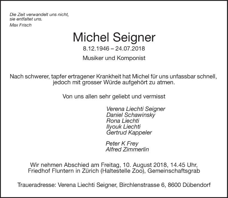 Traueranzeige für Michel Seigner vom 03.08.2018 aus Tages-Anzeiger