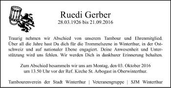 Zur Gedenkseite von Ruedi Gerber